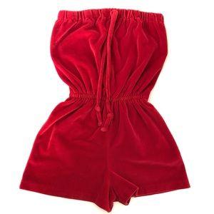 Vntg 70's Velour Shorts Romper Strapless Jumpsuit
